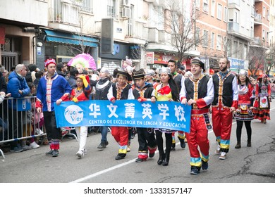Madrid, Spain - February 10, 2019: banner of chinese new year parade, year of the pig