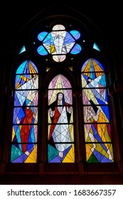 Madrid, Spain - February 14 2020: The stained glass windows of Catedral de la Almudena.