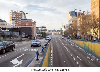 MADRID, SPAIN - FEBRUARY 18, 2017: streets of Madrid. Calle de Francisco Silvela