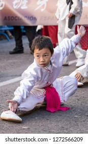 MADRID SPAIN - FEBRUARY 18. Parade for the celebration of the Chinese New Year. Children practicing martial arts during the parade