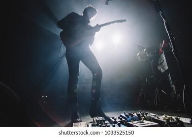MADRID, SPAIN - FEBRUARY 22: Rock band Mando Diao, performing on Madrid on February 22, 2018 at La Riviera Venue