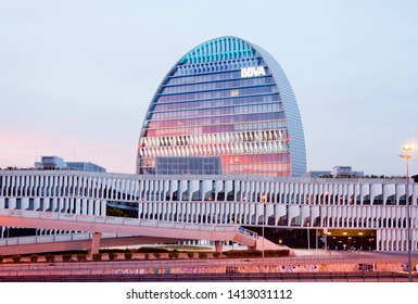 Madrid, Spain, february 23, 2019. The BBVA City is a complex of seven buildings that houses the new headquarters of the Spanish banking entity. The main building stands at the center of the complex.
