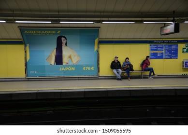 Madrid, Spain – February 23, 2019: Metro Train Station in Madrid, Spain, Europe