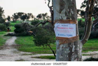 Madrid, Spain - February 28, 2021: Notice at Casa del Campo Park in Madrid for falling trees following heavy snowstorms in January 2021