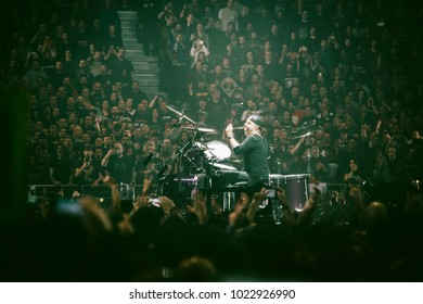 MADRID, SPAIN - FEBRUARY 5: Drummer Lars Ulrich playing with the rock band Metallica, performing on Madrid on February 5, 2018 at Wizink Center Venue