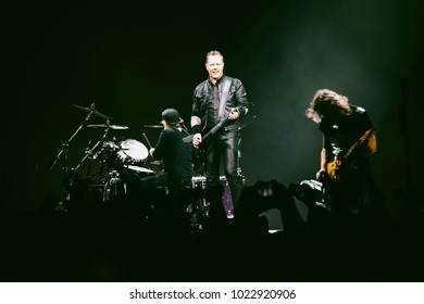 MADRID, SPAIN - FEBRUARY 5: Guitar player and singer James Hetfield,  playing with the rock band Metallica, performing on Madrid on February 5, 2018 at Wizink Center Venue
