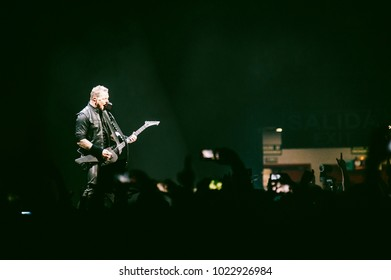 MADRID, SPAIN - FEBRUARY 5: Guitar player and singer James Hetfield playing with the rock band Metallica, performing on Madrid on February 5, 2018 at Wizink Center Venue