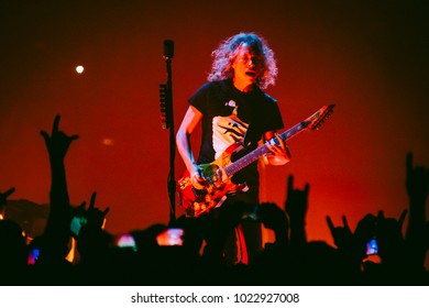 MADRID, SPAIN - FEBRUARY 5: Guitar player Kirk Hammett playing with the rock band Metallica, performing on Madrid on February 5, 2018 at Wizink Center Venue