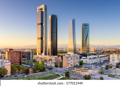 Madrid, Spain financial district skyline.