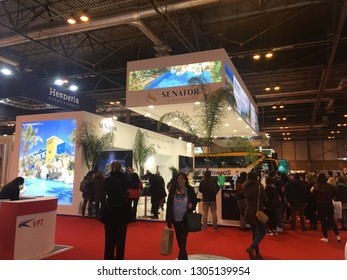 MADRID, SPAIN GENUARY 26th 2019: FITUR stands in Feria De Madrid, during one of the biggest Turism congres in the world.
