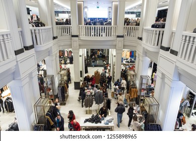 Madrid, Spain - Jan 24, 2016: Interior of Spanish Zara store on Gran Via shopping street, world's bigest fashion clothing and accessories retailer on Jan the 24th in Madrid, Spain.