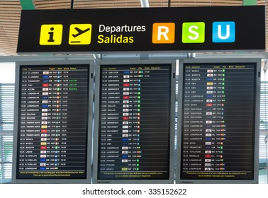 MADRID, SPAIN - JANUARY 05: Board departures in the terminal of Adolfo Suarez Madrid Barajas Airport on January 05, 2013 in Madrid, Spain. It the country's largest and busiest airport