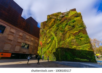 MADRID, SPAIN - JANUARY 1, 2018: View of the vertical garden of CaixaForum, with locals and visitors, in Madrid, Spain