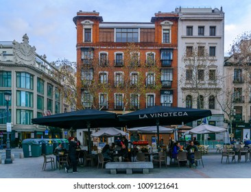 MADRID, SPAIN - JANUARY 1, 2018: Scene of Plaza de Santa Ana, with locals and visitors, in Madrid, Spain