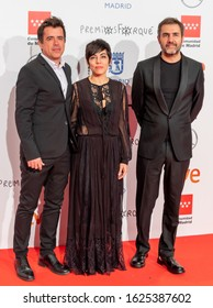 """MADRID, SPAIN - January 11, 2020: Red Carpet - Jose Maria Forque Awards 2020. """"O que arde"""" producers: Koldo Zuazua, Andrea Vázquez and Xavi Font"""