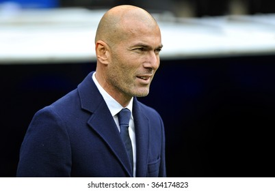 MADRID, SPAIN - January 17th 2016: portrait of ZINEDINE ZIDANE coach of REAL MADRID and former legendary player during Spain La Liga match vs SPORTING GIJON at Santiago Bernabeu Stadium