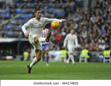 MADRID, SPAIN - January 17th, 2016 :  portrait of Portuguese CRISTIANO RONALDO of REAL MADRID in action during Spain La Liga match vs SPORTING GIJON at Santiago Bernabeu Stadium