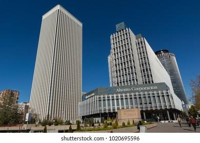 MADRID, SPAIN - JANUARY 21, 2018:  Business buildings at Paseo de la Castellana street in City of Madrid, Spain