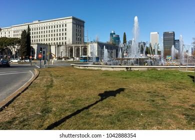 MADRID, SPAIN - JANUARY 21, 2018:  Plaza San Juan de la cruz at Paseo de la Castellana street in City of Madrid, Spain