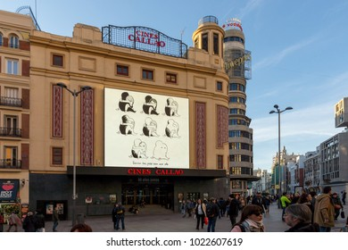 MADRID, SPAIN - JANUARY 22, 2018: Sunset view of walking people at Callao Square (Plaza del Callao) in City of Madrid, Spain