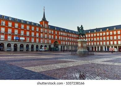 MADRID, SPAIN - JANUARY 22, 2018:  Plaza Mayor with statue of King Philips III in Madrid, Spain