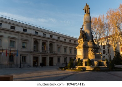 MADRID, SPAIN - JANUARY 22, 2018: Sunset view of Monument of Francisco Romero Robledo and Senate in City of Madrid, Spain