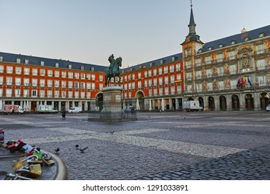 MADRID, SPAIN - JANUARY 22, 2018:  Morning view of Plaza Mayor with statue of King Philips III in Madrid, Spain