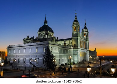 MADRID, SPAIN - JANUARY 22, 2018:  Amazing Sunset view of Almudena Cathedral in City of Madrid, Spain