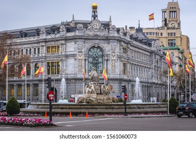 Madrid, Spain - January 22, 2019: Corner of Bank of Spain headquarters in Madrid capital city