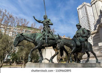 MADRID, SPAIN - JANUARY 23, 2018:   Monument to Cervantes and Don Quixote and Sancho Panza at Spain Square in City of Madrid, Spain