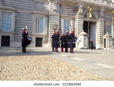 Madrid, Spain - January 24, 2018: Changing of the Guard. The Royal Palace of Madrid is the official residence of the Spanish Royal Family, Madrid, Spain