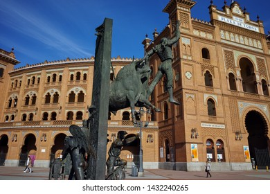 MADRID, SPAIN - JANUARY 24, 2018:  Statue in front of Las Ventas Bullring (Plaza de Toros de Las Ventas) situated at Plaza de torros in City of Madrid, Spain