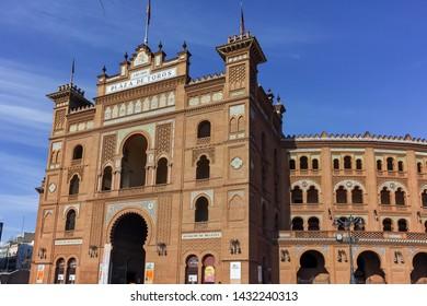MADRID, SPAIN - JANUARY 24, 2018:  Las Ventas Bullring (Plaza de Toros de Las Ventas) situated at Plaza de torros in City of Madrid, Spain