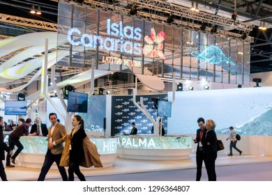 Madrid, Spain - January 25, 2019 - Canary Islands promotional stand at FITUR International Tourism Fair in Madrid city