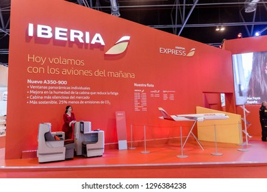 Madrid, Spain - January 25, 2019 - Iberia promotional stand at FITUR International Tourism Fair in Madrid city