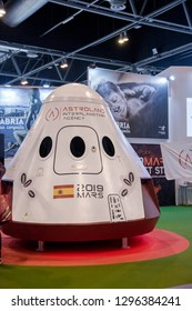Madrid, Spain - January 25, 2019 - Astroland space ship project promotional stand at FITUR International Tourism Fair in Madrid city