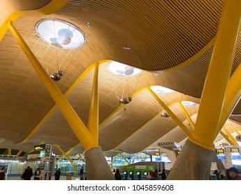 Madrid, Spain - January 27, 2018: Interior of Barajas Airport in Madrid, Spain. Interior of Terminal 4, designed by Antonio Lamela and Richard Rogers