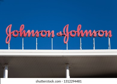 MADRID, SPAIN - JANUARY 27, 2019. johnson & johnson logo on building. johnson & johnson is an american multinational medical devices