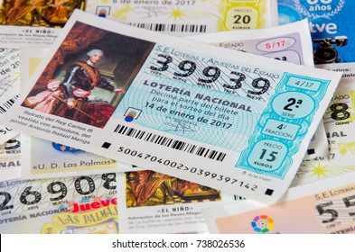 MADRID, SPAIN - JANUARY 28, 2017: Spanish national lottery receipts. Spanish national lottery distributes many cash prizes especially at Christmas time. First prize is called Gordo