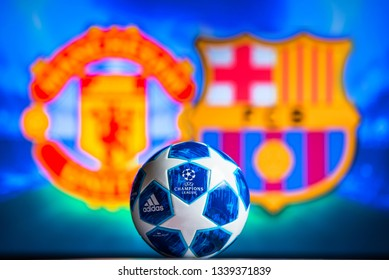 MADRID, SPAIN, JANUARY. 3. 2018: Manchester United (ENG) vs FC Barcelona (SPA),UEFA Champions League, Quarter final, official Adidas ball for season 2018/2019 in foreground