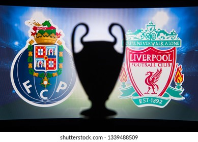 MADRID, SPAIN, JANUARY. 3. 2018: FC Porto (POR) vs Liverpool (ENG),UEFA Champions League, Second Quarter final, UCL Trophy silhouette in background.