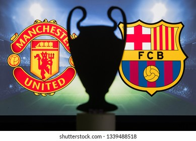 MADRID, SPAIN, JANUARY. 3. 2018: Manchester United (ENG) vs FC Barcelona (SPA),UEFA Champions League, First Quarter final, UCL Trophy silhouette in background.