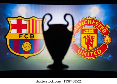 MADRID, SPAIN, JANUARY. 3. 2018: FC Barcelona (SPA) vs Manchester United (ENG),UEFA Champions League, Second Quarter final, UCL Trophy silhouette in background.