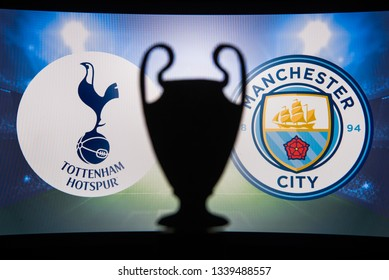 MADRID, SPAIN, JANUARY. 3. 2018: Tottenham (ENG) vs Manchester City (ENG),UEFA Champions League, First Quarter final, UCL Trophy silhouette in background.