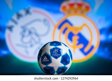 MADRID, SPAIN, JANUARY. 3. 2019: UEFA Champions League, Ajax (NED) v Real Madrid (ESP) Round of 16 match UCL, official Adidas ball for season 2018/2019 in foreground