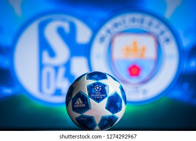 MADRID, SPAIN, JANUARY. 3. 2019: UEFA Champions League, Schalke (GER) v Manchester City (ENG) Round of 16 match UCL, official Adidas ball for season 2018/2019 in foreground