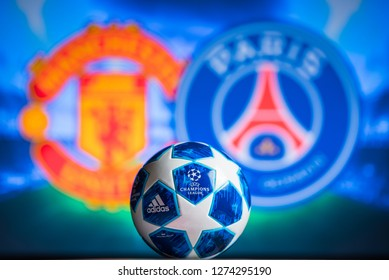 MADRID, SPAIN, JANUARY. 3. 2019: Manchester United (ENG) vs Paris Saint-Germain (FRA), UEFA Champions League, Round of 16 match, official Adidas ball for season 2018/2019 in foreground