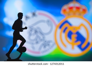 MADRID, SPAIN, JANUARY. 3. 2019: Champions League Round of 16 Match, Silhouette of football player statuette, UCL 2019, Ajax (NED) v Real Madrid (ESP)