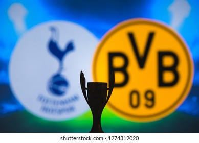 MADRID, SPAIN, JANUARY. 3. 2019: Champions League trophy, Round of 16 UCL match, Tottenham Hotspur (ENG) v Borussia Dortmund (GER)