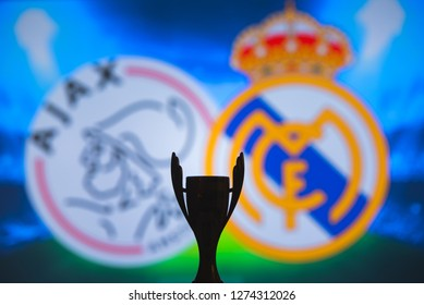 MADRID, SPAIN, JANUARY. 3. 2019: Champions League trophy, Round of 16 UCL match, Ajax (NED) v Real Madrid (ESP)